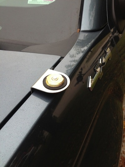 Close up of the antenna mount on a GMC Sierra Pickup