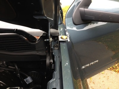 From the front showing the installation of a CB Radio on a GMC Sierra Pickup
