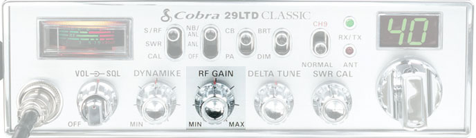 RF Gain control on a Cobra 29 LTD Classic CB Radio
