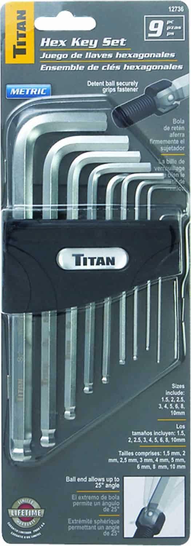 12736 - Titan Tools 9 Pc Metric Detent Ball Hex Key Set 1.5 Up To 10mm