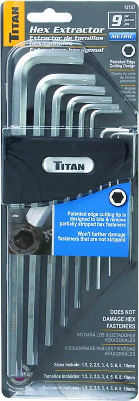 12757 - Titan Tools 9Pc Metric Damaged Cap Screw Extractor 1.5 To 10mm