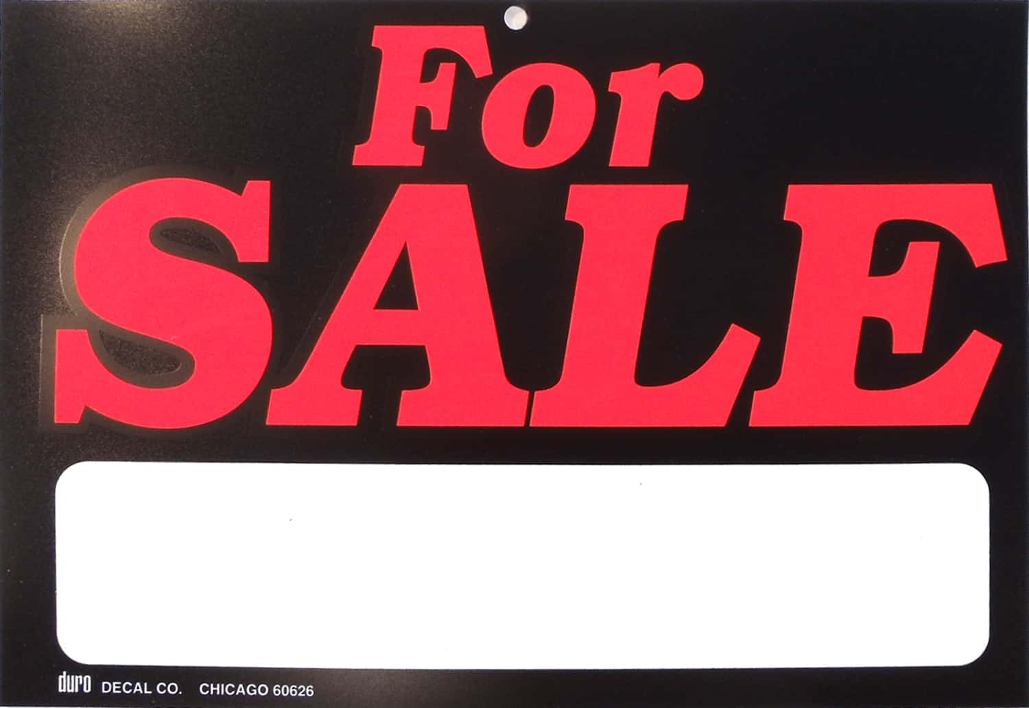 """0454035 - Duro 11-1/2"""" X 8"""" Plastic For Sale Sign With Blank Marker Area"""