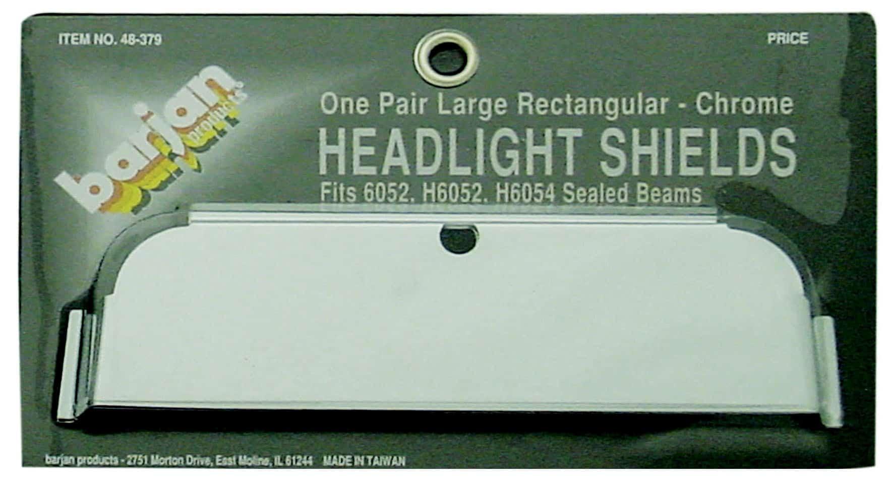 048379 - Large Rectangular Chrome Headlight Shields (Pair)