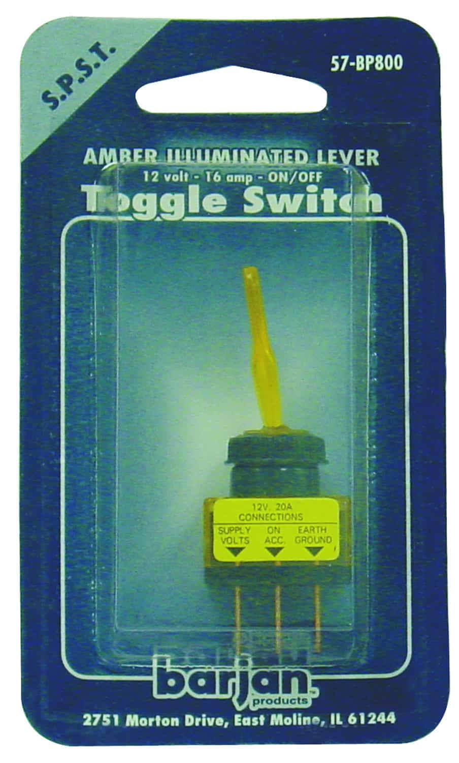 057BP800 - 12 Volt Amber On/Off Toggle Switch