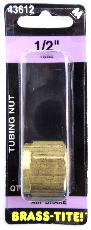 "07443612 - Brass-Tite Air Brake Brass 1/2"" Tubing Nut"