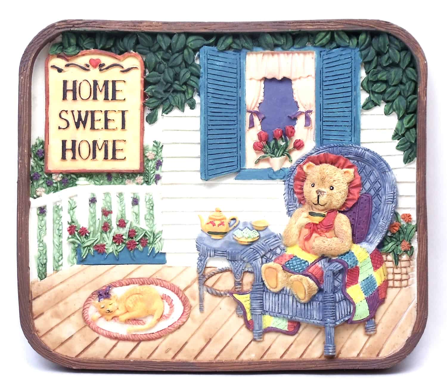 1253814C - Home Sweet Home Wall Plaque - Bear On Porch At Tea Time