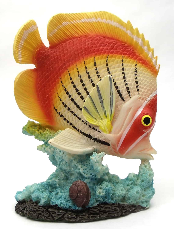 1255530-O/W - Resin Decorative Tropical Fish Statue  - Orange / White