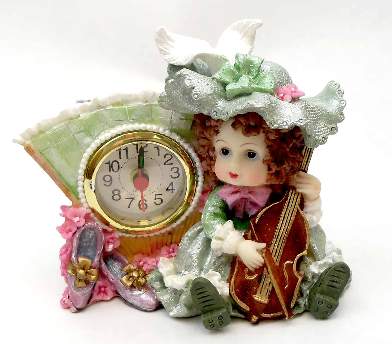 1256138A-G - Victorian Resin Clock - Girl Musician With Violin In Green Dress