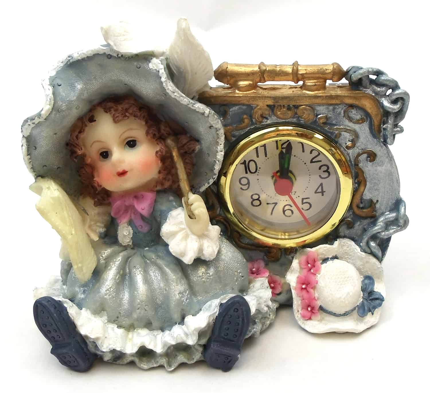 1256138C-B - Victorian Resin Clock - Girl Musician With Flute In Blue Dress
