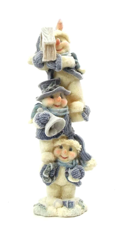 """1256440A - 8"""" Blue Velvet Touch Resin Snowmen Tower Statue - Holding Birdhouse"""