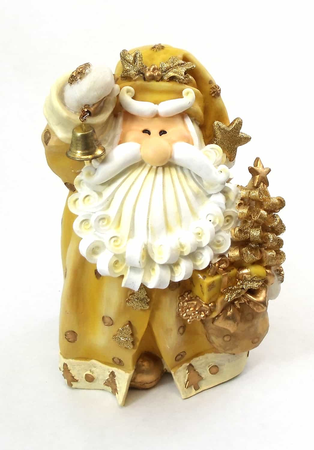 """1256523C - 8"""" Curly Beard Golden Resin Santa Statue  With Bell"""