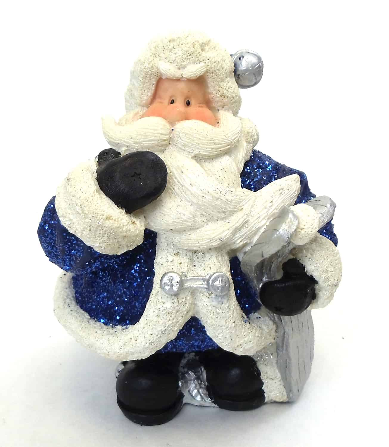"1256553A - 6"" Resin Royal Blue Glitter Santa Statue Holding Skis"