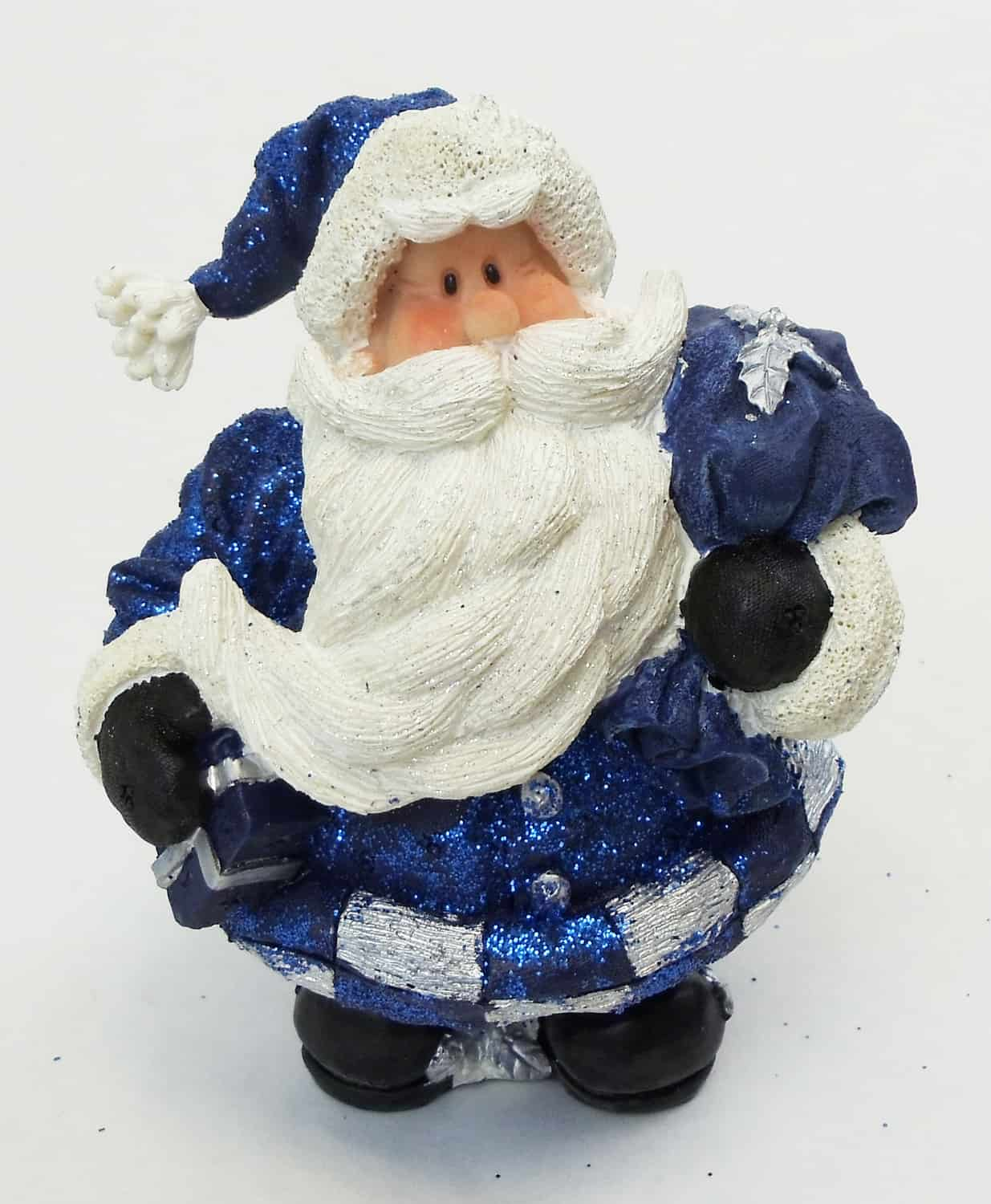 "1256553D - 6"" Resin Royal Blue Glitter Santa Statue Holding Bag Of Gifts"
