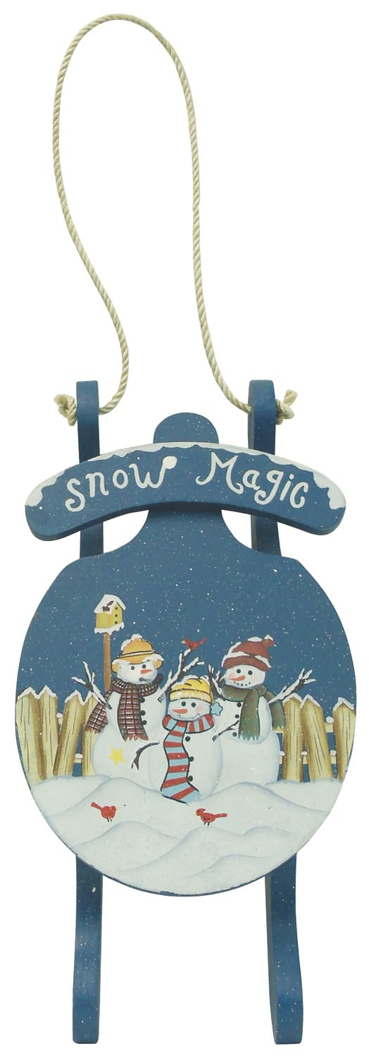 """1256649 - 16-1/2"""" Hand Painted Hanging Wood """"Snow Magic"""" Sled Wall"""