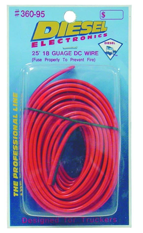 36095 - Diesel 25 Foot 18 Gauge Red/Black Power Wire