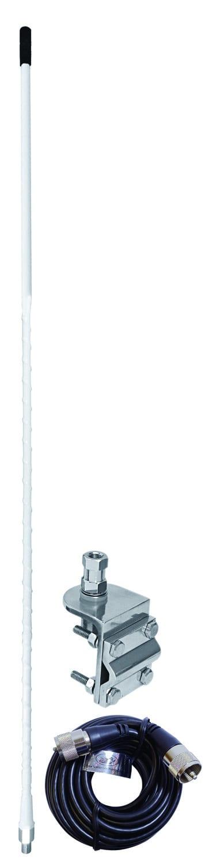 AUMM14-W - 4' White Single 3-Way So239 Mirror Mount CB Antenna Kit