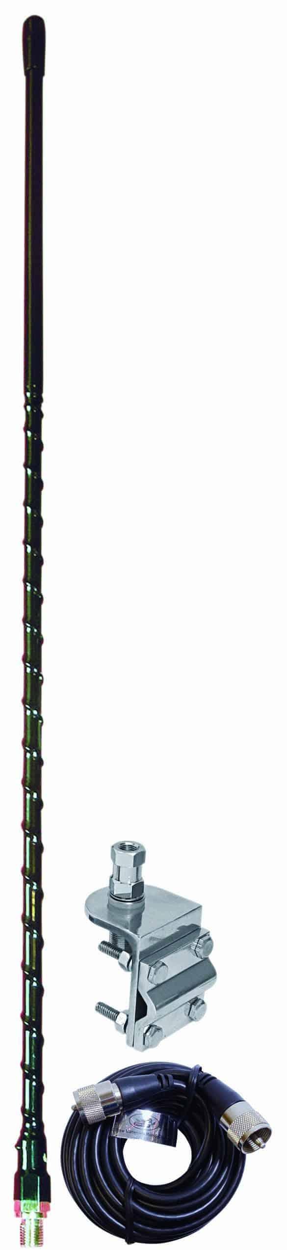 AUMM13-B - 3' Black Single 3-Way So239 Mirror Mount CB Antenna Kit