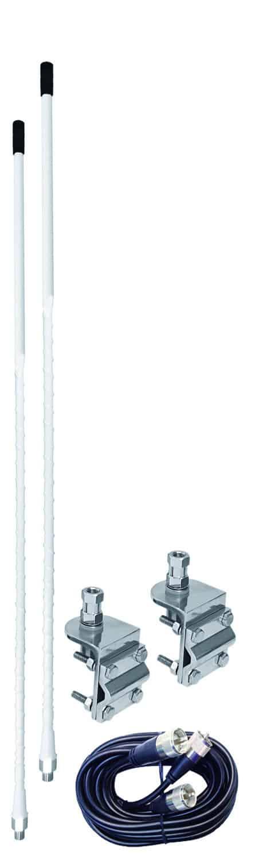 AUMM22-W - 2' White Dual Mirror Mount CB Antenna Kit