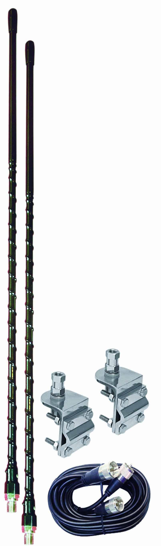 AUMM24-B - 4' Black Dual CB Antenna Kit