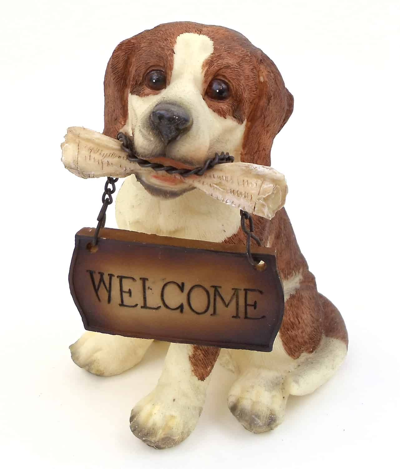 """1257203 - Resin """"Welcome"""" Beagle Puppy Statue"""