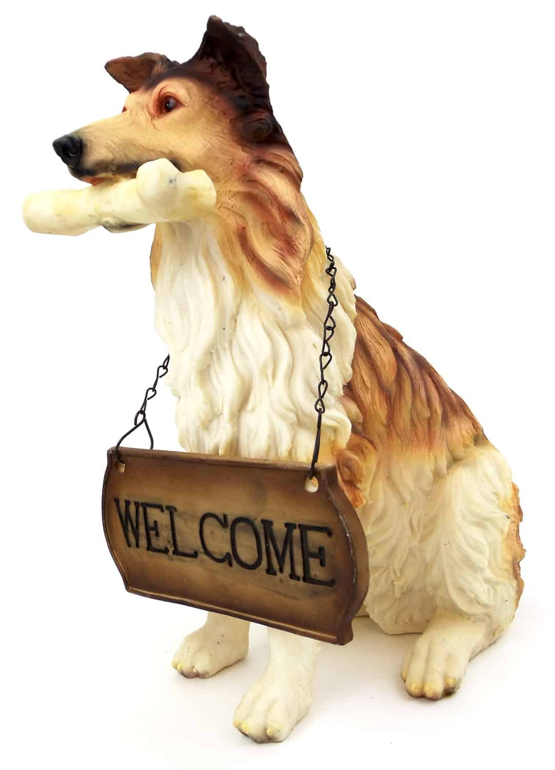 "1256803COLLIE - 15"" Resin Collie With Welcome Sign Statue"