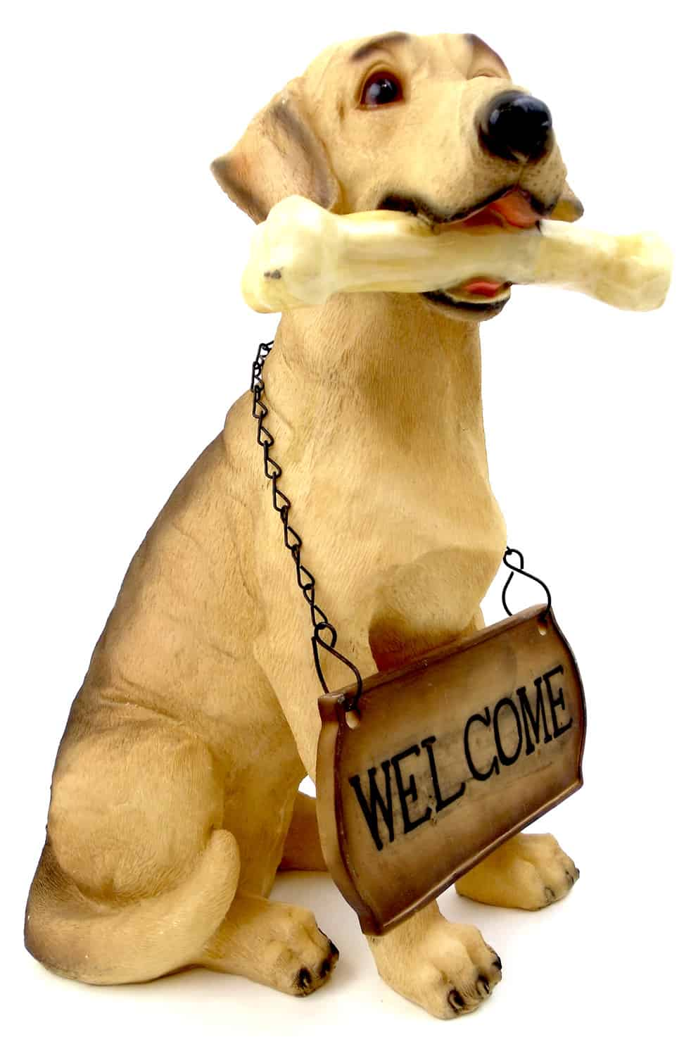 "1256803GOLDRETR - 15"" Resin Golden Retriever With Welcome Sign Statue"
