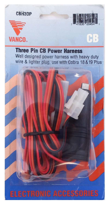 CBH3DP - Cobra® 19+ Radio 3 Wire Fused Power Cord With Cigarette Plug
