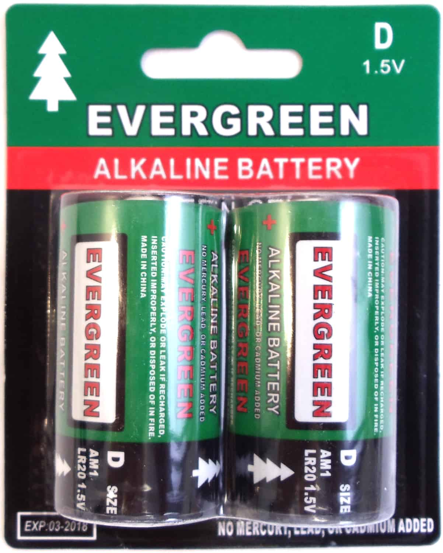 EBD - Evergreen 2 Pack D Cell Alkaline Battery