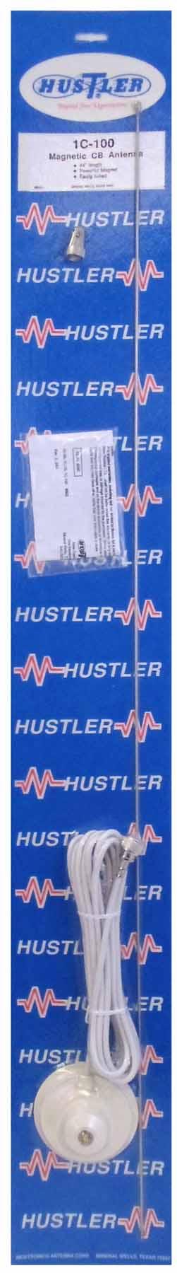 "IC100-W - Hustler 44"" Base Loaded Magnet Mount Antenna Kit -White"