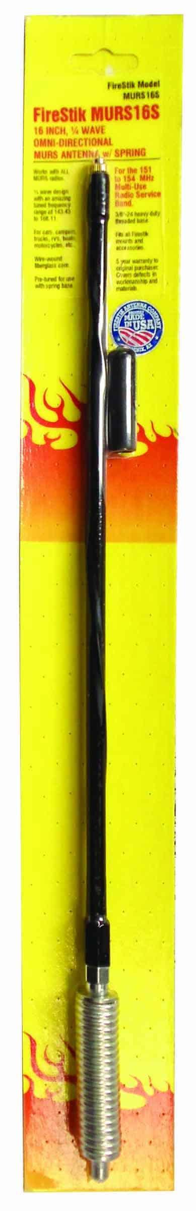 """MURS16S-B - Firestik 19"""" MURS 1/4 Wave Mobile Antenna W/Spring"""