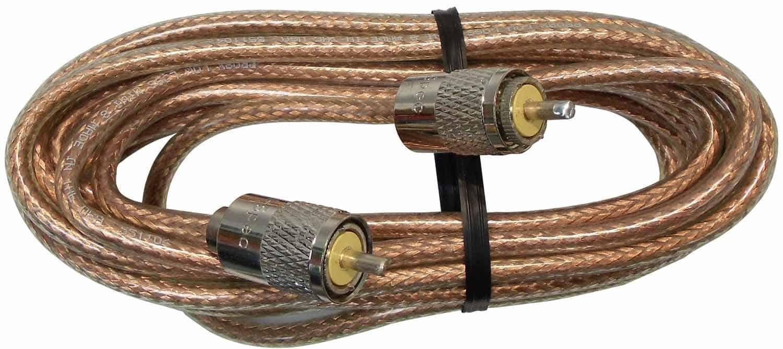 PP8X18-CLR - ProComm 18' Rg8X Coax Cable W/Pl259 Connectors Clear Jacket