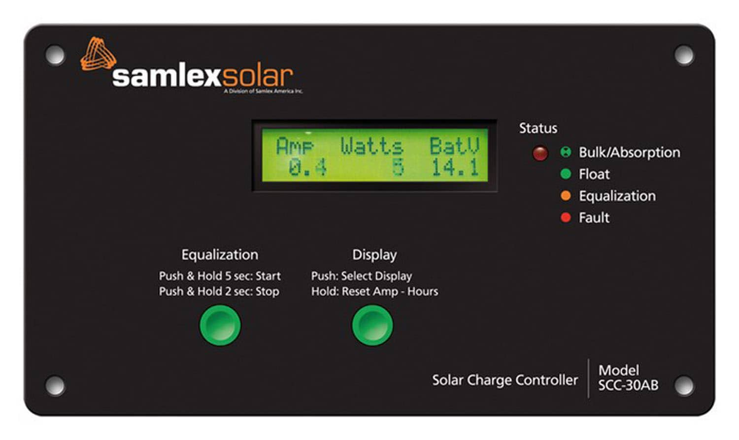 SCC30AB - Samlex Flush Mount 4 Stage Solar Charge Controller