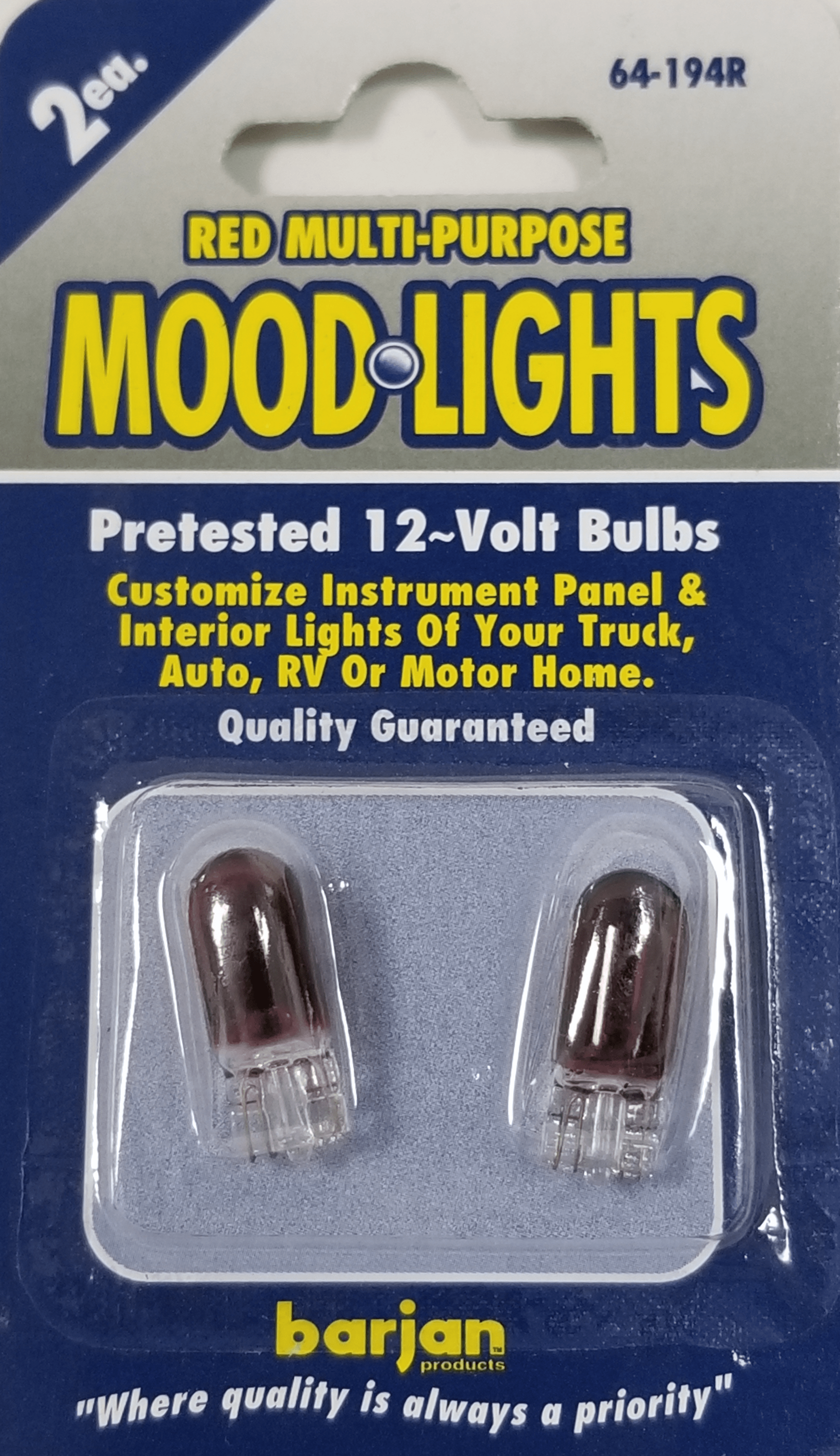 064194R - Red Moodlights Auto Bulbs 2/Card