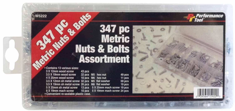W5222 - 347 Piece Metric Nut & Bolt Assortment