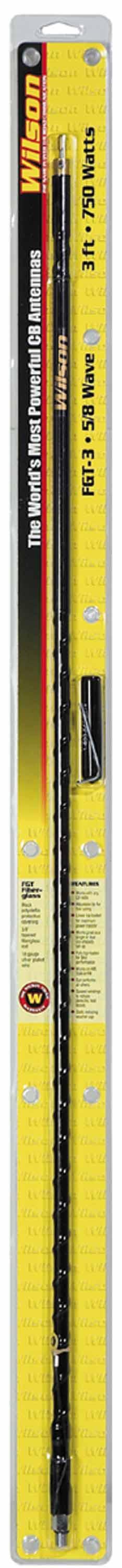 WFGT3-B - Wilson 3' Tunable Tip CB Antenna (Black) w/Ground Strap, Silver Load