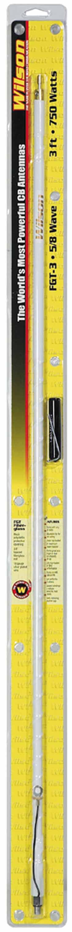 WFGT3-W - Wilson 3' Tunable Tip White CB Antenna w/Ground Strap, Silver Load