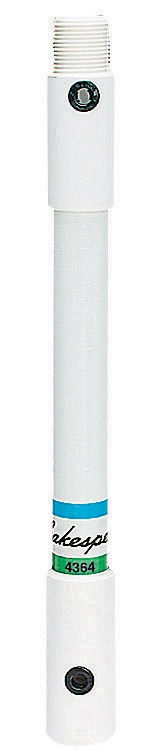 """4364 - SHAKESPEARE - One Foot Polycarbonate 1"""" Diameter Marine Extension Mast With Male Upper And Female Lower 1""""-14 Threads"""