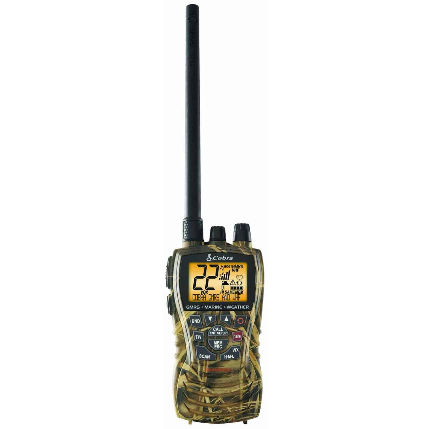 MRHH450CAMO - Cobra® 6 Watt Dual Band VHF And GMRS Handheld Radio