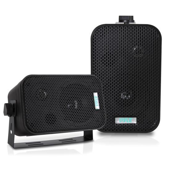"""PYLE - PDWR30-B 3-1/2"""" 300 Watt Indoor Or Outdoor Waterproof Boxed Speaker Pair - In Black"""