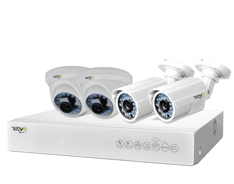 Revo Aero HD 720p 4 Ch. Video Security System with 4 Indoor/Outdoor Cameras