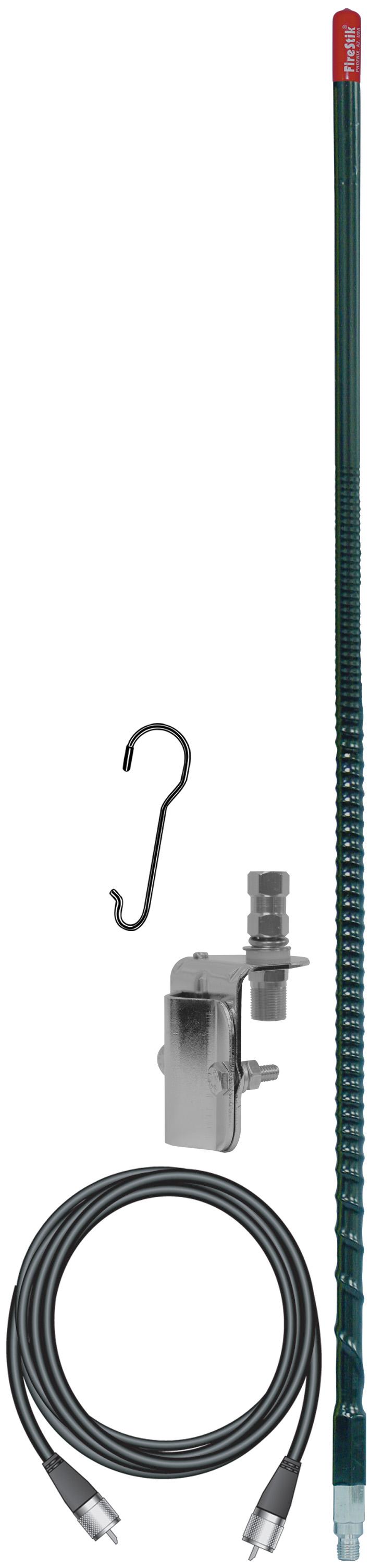 KW4SMK-B - Firestik 4' Single Mirror Mount CB Antenna Kit (Black)