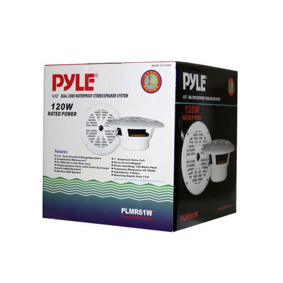 PLMR61-W - Pyramid/Pyle 120 Watts 6.5'' Dual Cone White Marine Speakers (Pair)