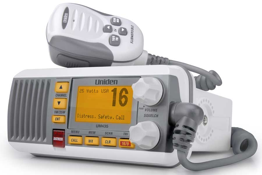 UM435BK - Uniden Fixed-Mount VHF Radio (White)  with Handheld Microphone