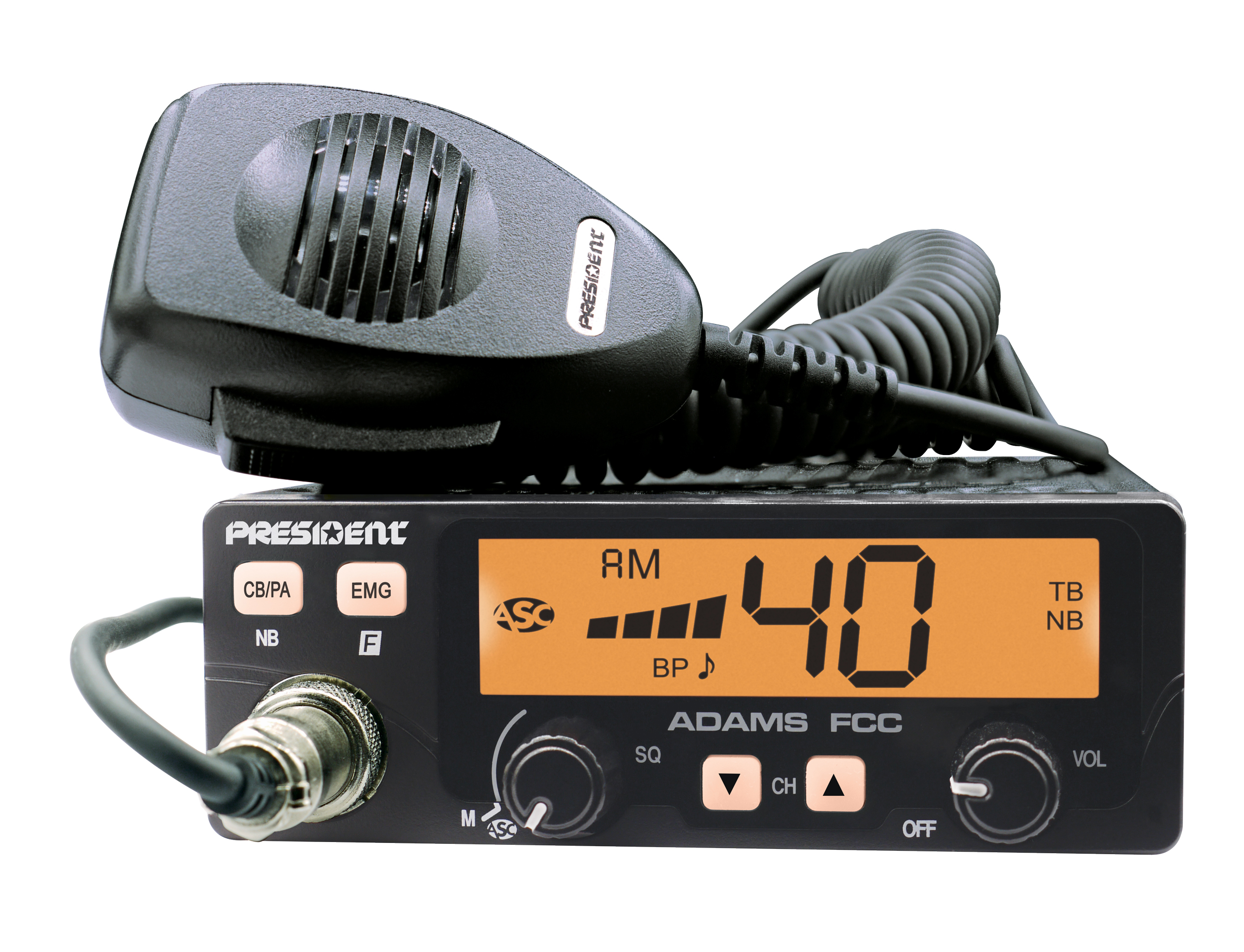 ADAMS - President 40 Channel CB Radio with Talkback and Color Display Options