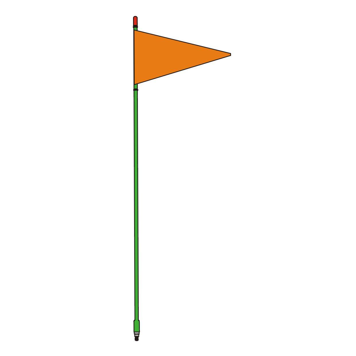 SR4-G - Firestik 4ft Green Strobe Ready Stick w/ Flag