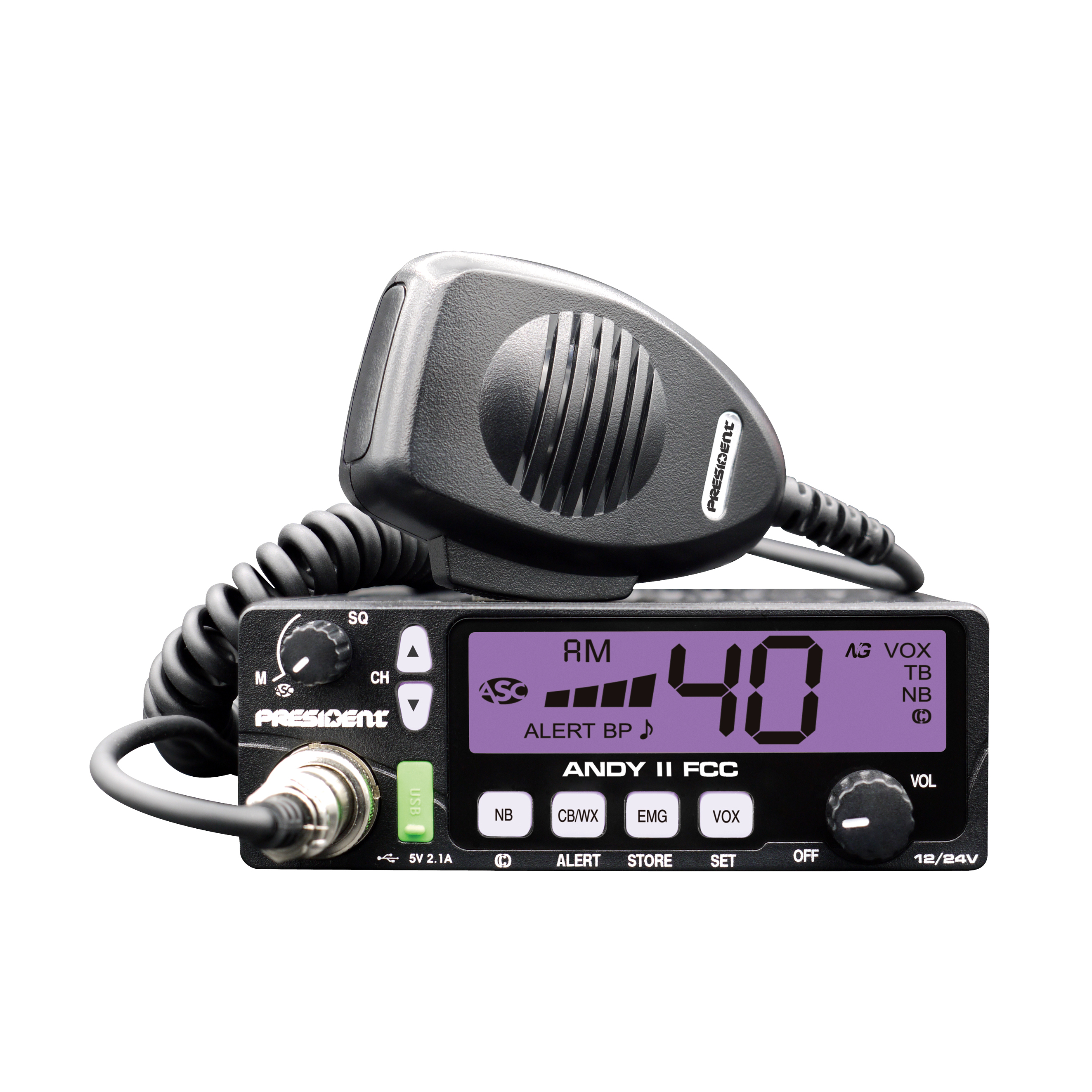 ANDY II - President 12-24 VDC CB Radio with 7 Color Display