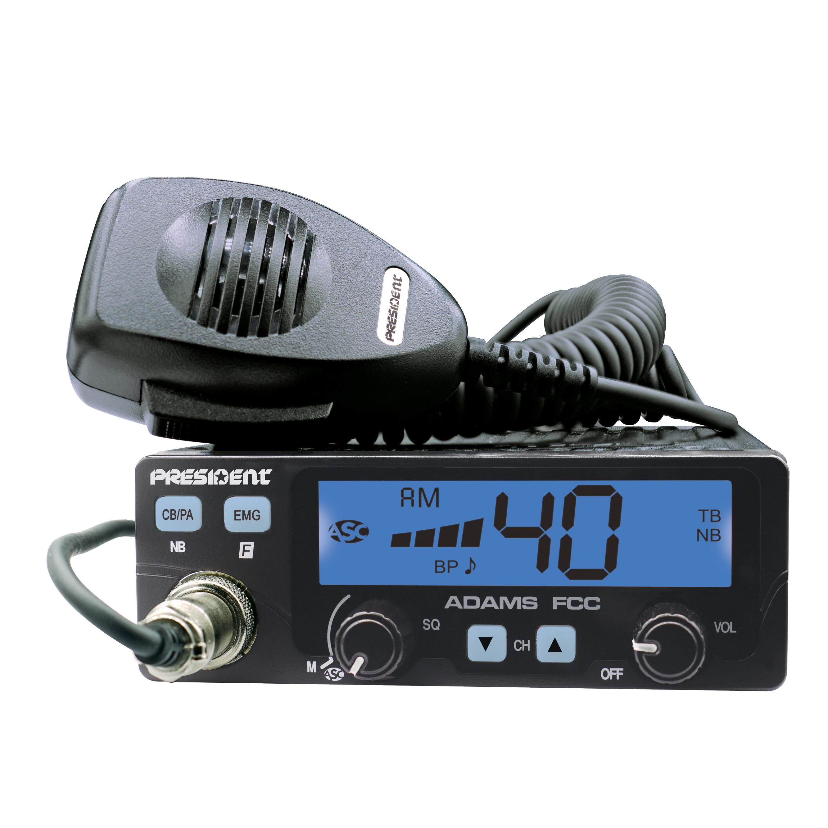 ADAMS - President 40 Channel CB Radio with Talkback and Color Display OptionsADAMS - President 40 Channel CB Radio with Talkback and Color Display Options