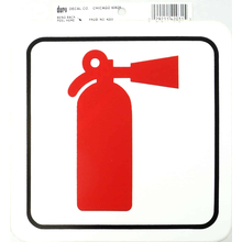 "0454203 - Duro 6"" X 6"" Stick-On Fire Extinguisher Decal - 12 Per Pack"