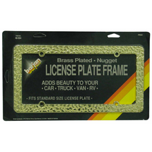 048504 - Deluxe Brass Plated Gold Nugget License Plate Frame