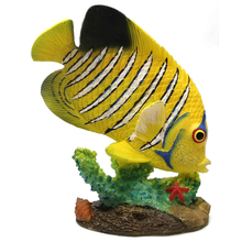1255530-Y - Resin Decorative Tropical Fish Statue - Yellow